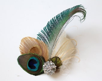 Wedding Bridal Ivory Gold Peacock Feather Rhinestone Jewel Head Piece Hair Clip Fascinator Accessory