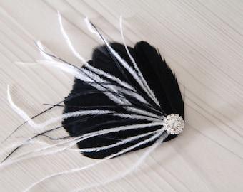 READY TO SHIP Wedding Bridal Bridesmaid Ivory Off White Black Feather Rhinestone Head Piece Hair Clip Fascinator