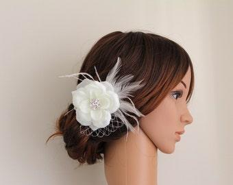 Wedding Bridal Ivory Flower Feather White Veiling Rhinestone Jewel Head Piece Hair Clip Fascinator Accessory