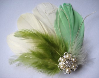 Wedding Bridal Bridesmaid Ivory Mint Green Olive Feather Pearl Rhinestone Jewel Head Piece Hair Clip Fascinator Accessory