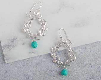 Silver Grecian Leaf Vine Earring // Silver Turquoise Earrings // Teardrop Silver Earring // Turquoise Earrings // Laurel Leaf Hoop Earrings