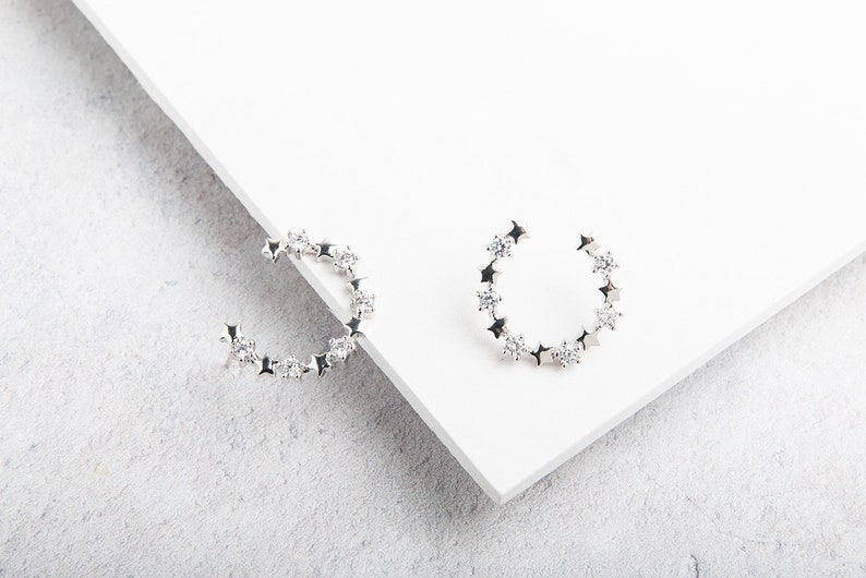 Milky Way Star and Diamante Silver Horseshoe Hoop Studs / Modern Studs /  Silver Ear Climbers / Bold Silver Studs / Moon and Stars
