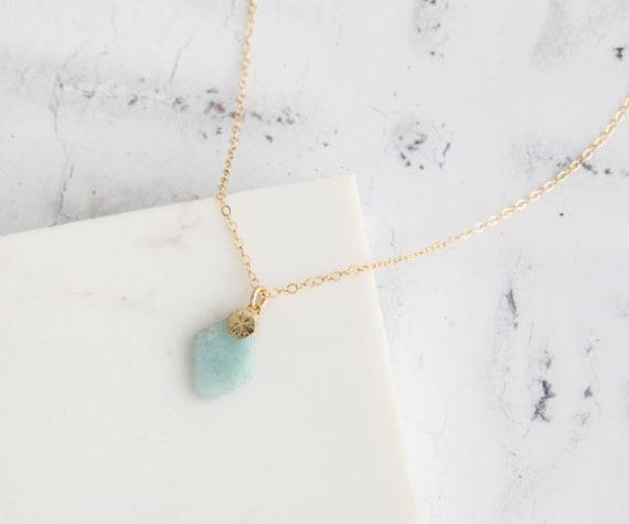Gold Chain Turquoise Beige Teardrop Shape Stone Statement Pendant Necklace