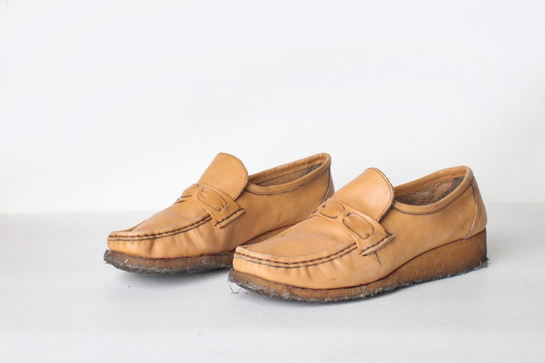 64bb9eb184443 Vintage Size 6 Women's Tan Leather Size 6 Wedge Loafers, Made in Italy