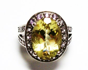 "Citrine ring, sunflower quartz ring, cocktail ring, birthstone ring, yellow,   s 7 "" Sunbeams"""