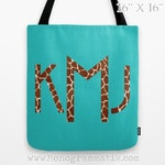 "Monogram/Personalized ""Birgitte in Pink"" Custom Tote Bag 16x16 Fancy Decor Initials Name Teal Black Neon Giraffe Spots Animal Print Wild"