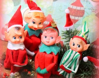 1 vintage christmas knee hugger elf - Vintage Christmas Pictures