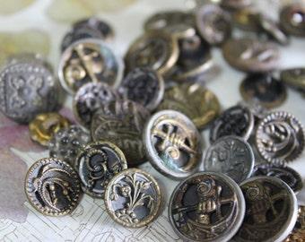 5 Antique Victorian Buttons