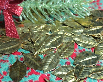 5 Vintage Gold Metal Leaves