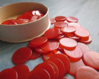 10 Vintage Red Bingo Marker Chips