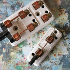 Crazy concentric switch with ceramic wafer and vintage red and black Bakelite knobs