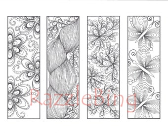 DIY Bookmark Printable Coloring Page Zentangle Henna Inspired Butterflies And Blooms Zendoodle Doodle PDF Instant Download