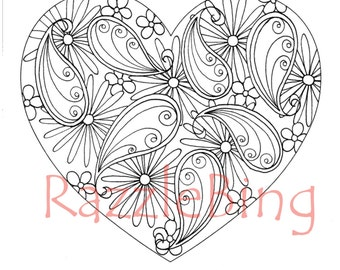 DIY Bookmark Printable Coloring Page Zentangle Inspired Paisley Heart Doodle PDF Instant Download Valentines Art Doodles