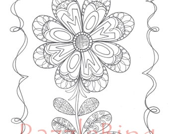 Printable Coloring Page Zentangle Henna Inspired Mom Flower Zendoodle Doodle PDF Instant Download Kids Flowers Mothers Day