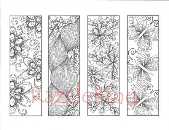 Diy Bookmark Printable Coloring Page Zentangle Henna Inspired Etsy