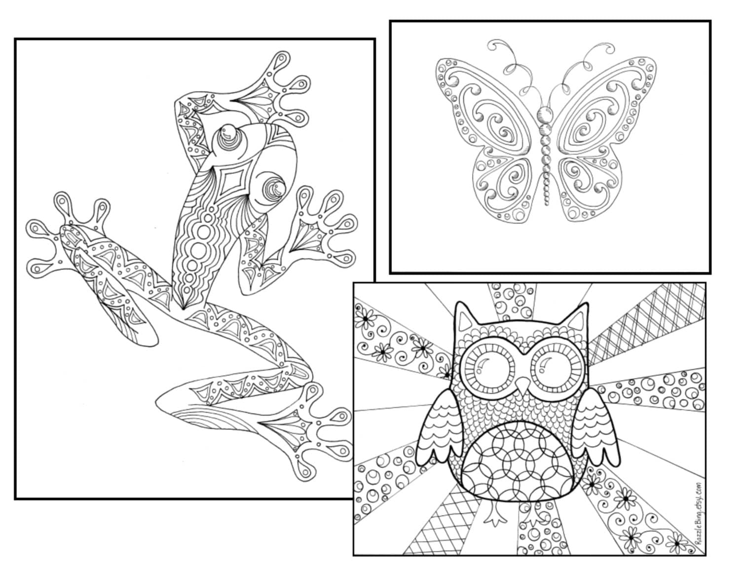 DIY Bookmark Printable Coloring PageZentangle inspired Etsy