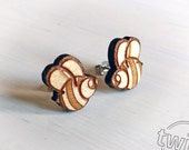 Bees wood earring studs. ...