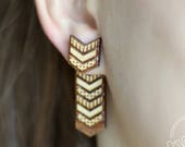 Wood chevron ear jacket e...