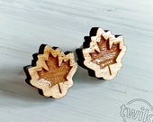 Wood Maple leaf studs. Ma...
