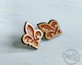 Wood Fleur de Lis studs. ...