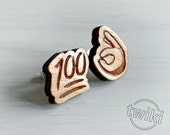 Wood Perfect Emoji studs....