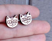 Cat with glasses studs. N...