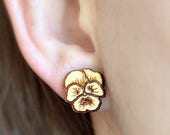 Wood Pansy Flower studs. ...