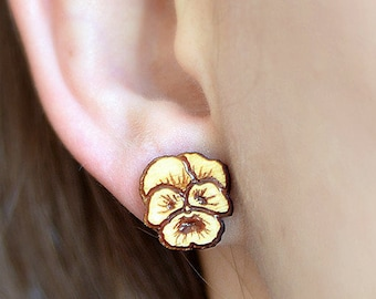 Wood Pansy Flower studs. With sterling silver or stainless steel posts. Pansy earrings, flower earrings, wood flower jewelry, pansy jewelry