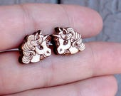 Unicorn wood earring stud...