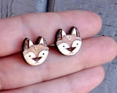 Wood fox earring studs. W...
