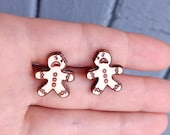 Gingerbead man wood earri...