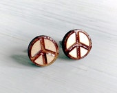 Peace sign wood earring s...