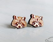 Raccoon wood earring stud...