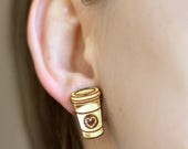 Wood coffee cup earrings....