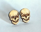 Skull wood earring studs....