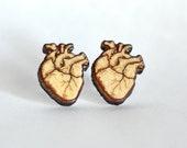 Wood human heart studs. H...