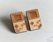 Gameboy wood stud earring...
