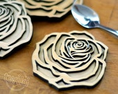 Wood rose coasters - Lase...