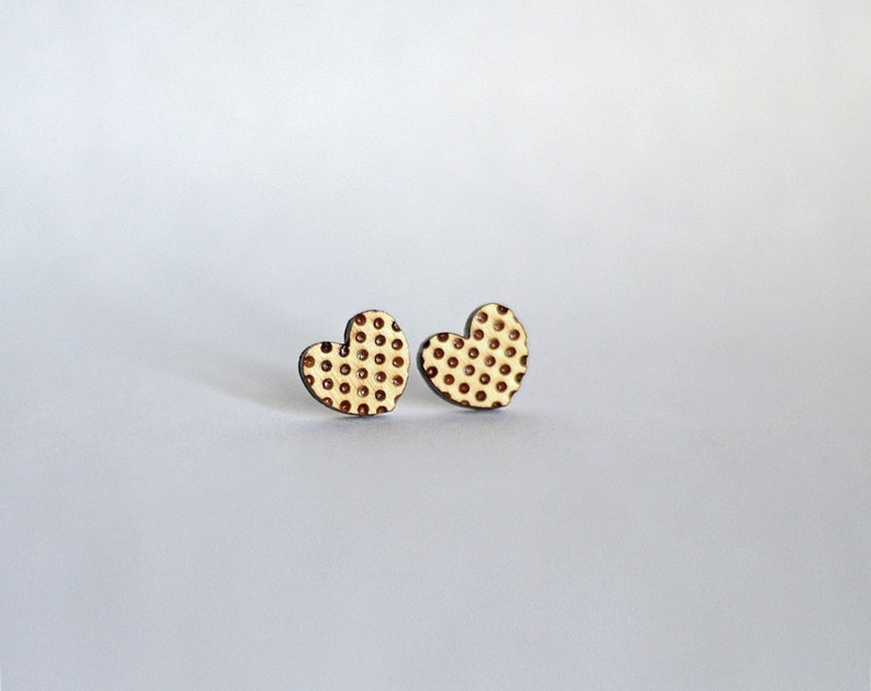 Wood polka dot heart studs. With sterling silver or stainless image 0