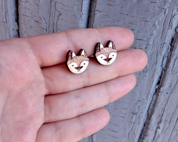 d7e74a8194ba5 Wood fox earring studs. With sterling silver or stainless steel posts. Cute  fox earrings, wood fox studs, animal lover gift, fox jewelry