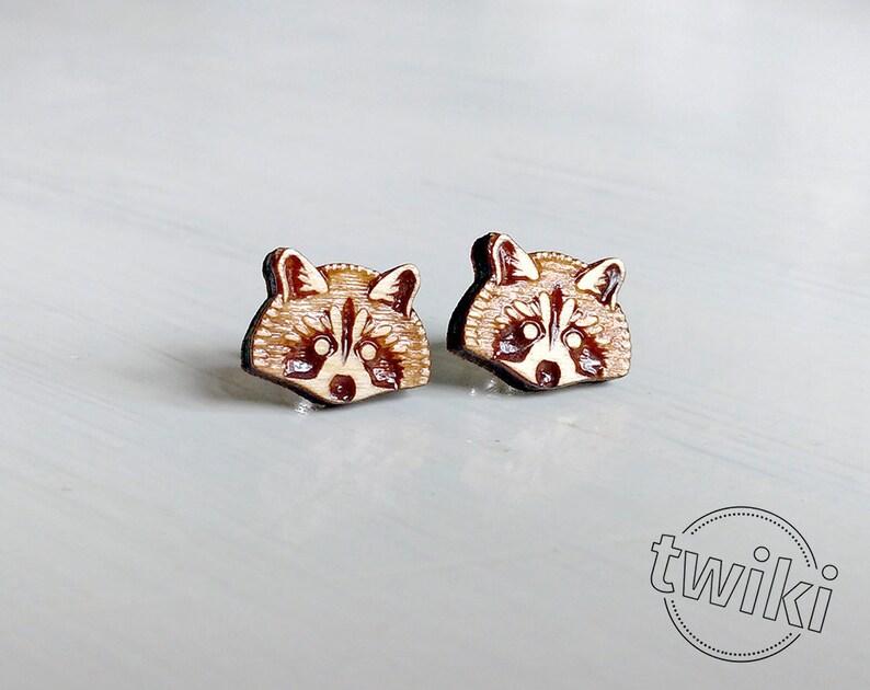 394b8bf32ba67 Raccoon wood earring studs. Sterling silver or stainless steel posts. Wood  raccoon earrings, raccoon studs, raccoon jewelry, animal lover
