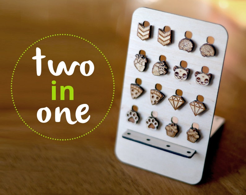 Wood earrings organizer. 2 in 1 stud organizer for the home image 0