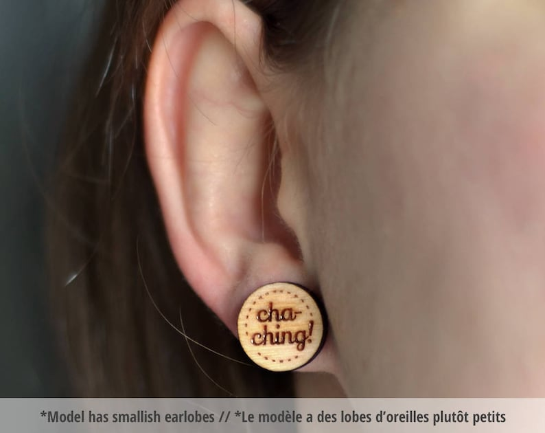 Cha-ching wood earring studs. Wood earrings cha-ching studs image 0