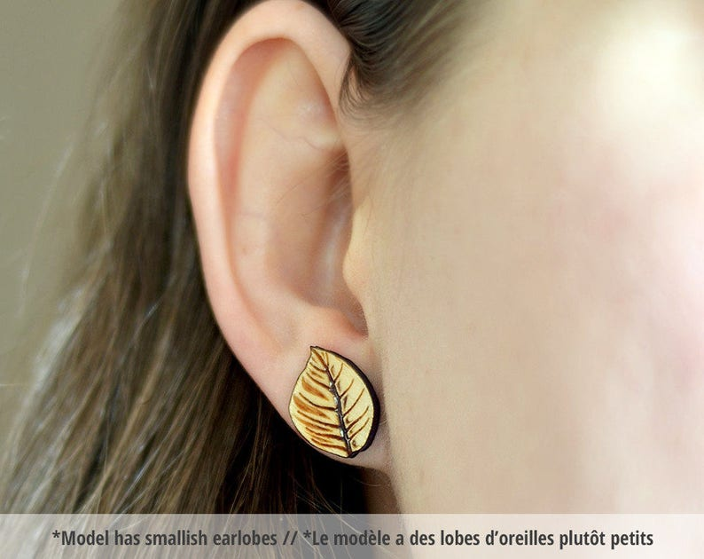 Wood tree leaf studs. With sterling silver or stainless steel image 0