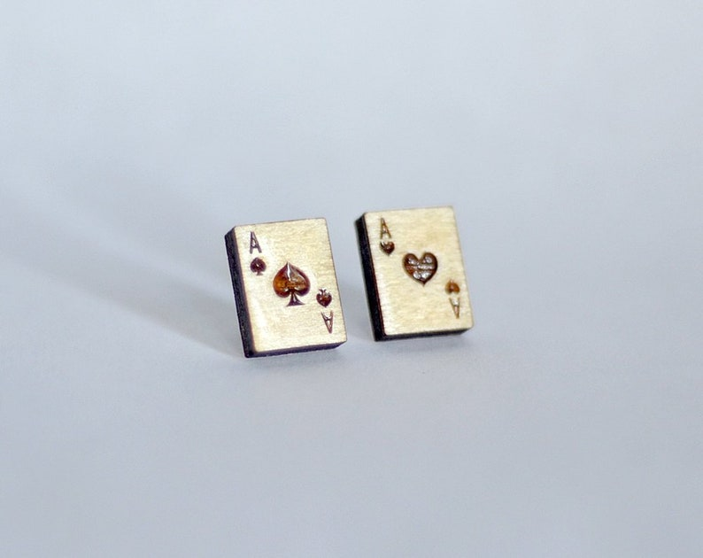 Wood Poker earring studs. With sterling silver or stainless image 0