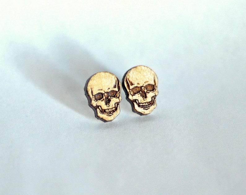 Skull wood earring studs. Skull earrings death earrings image 0