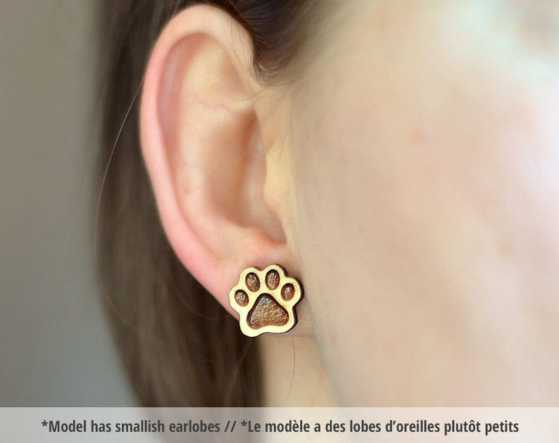 Wood Paw studs. Wood paw print earrings animal jewelry paw image 0