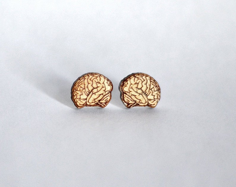 Wood brain studs. With sterling silver or stainless steel image 0