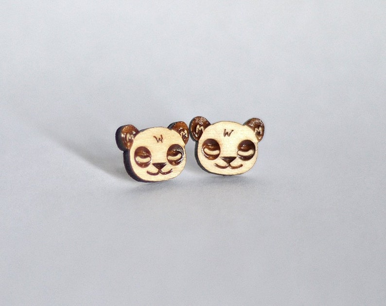 Wood Panda studs. With sterling silver or stainless steel image 0