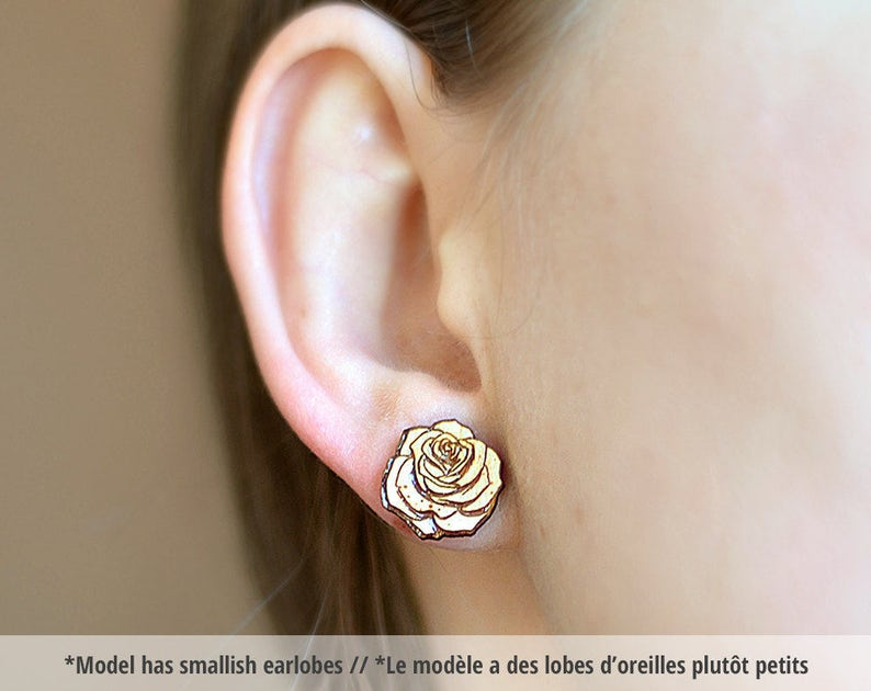 Wood Rose studs. With sterling silver or stainless steel image 0